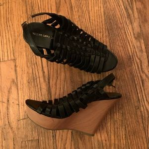 Black Platform Wedge Heels Mossimo Sz 10 Open Toe